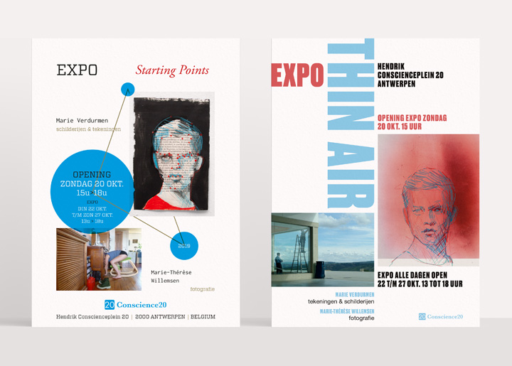 Design two try-outs & final poster (right) with Marie Verdurmen for our first expo together in gallery Conscience20 Antwerp (Belgium) with paintings, drawings (Marie Verdurmen) & photos (Marie-Thérèse Willemsen).