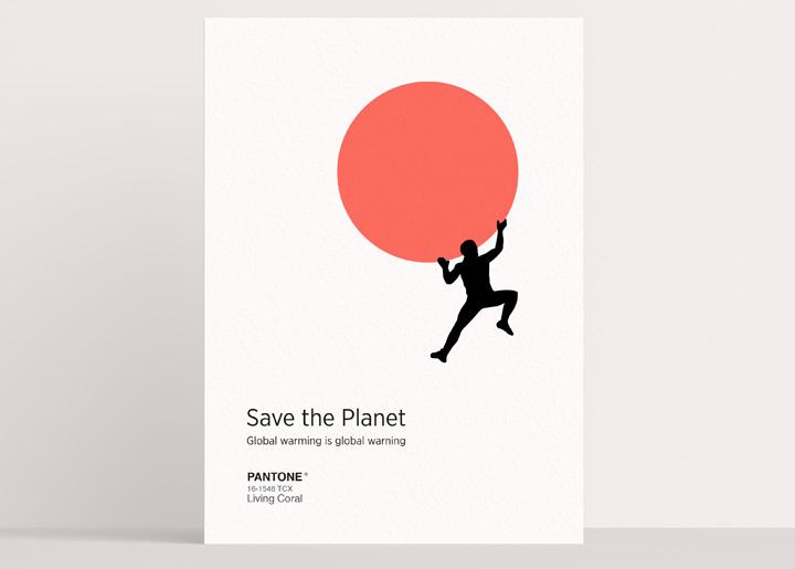 ontwerp poster / kaart met gebruikmaking van Pantone kleur van het jaar 2019 'Living Coral'. Challenge #1 (april 2019) grafische instagram groep Antwerpen