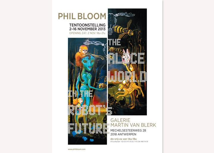 ontwerp affiche voor solo-tentoonstelling Phil Bloom in galerie Martin Van Blerk, Antwerpen