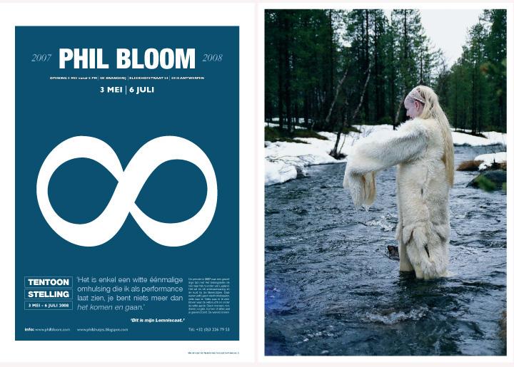 ontwerp affiche & flyer tentoonstelling 'Lemniscaat' van kunstenares Phil Bloom