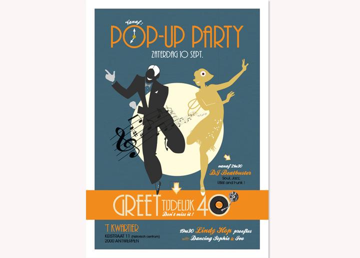 ontwerp & idee poster - Pop-Up Party 'Greet tijdelijk 40' met Dancing Sophie (Lindy Hop)