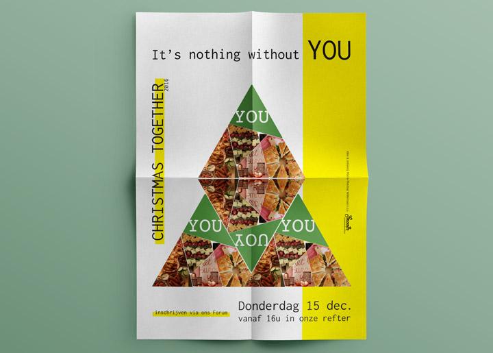 ontwerp & concept bedrijfs-eindejaars (Kerst) uitnodiging/poster 2016/17 in opdracht van 'Smooth Communication' communicatiebureau Antwerpen / Kapellen