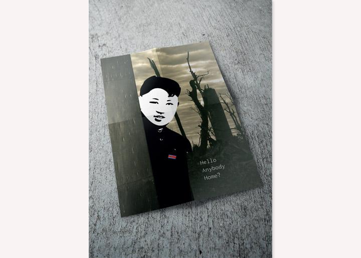 ontwerp poster & tekening 'Kim. J. U.' - 'Hello Anybody Home? X, Kim' - uit serie opvallende situaties juni 2017