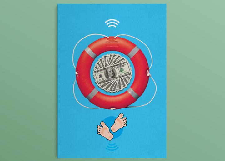 ontwerp poster & tekening 'The Saved Ones' - uit serie opvallende situaties jan. 2017