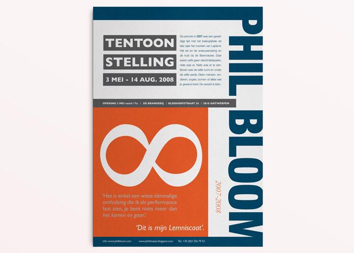 ontwerp affiche tentoonstelling Phil Bloom 'Lemniscaat' - variant