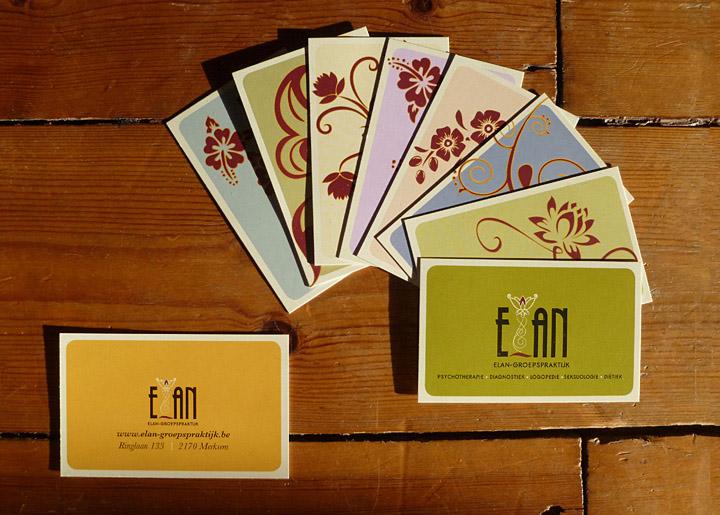 Ontwerp visitekaartjes & logo (corporate design) 'Elan-Groepspraktijk in Merksem en Schoten', geestelijke gezondheidszorg