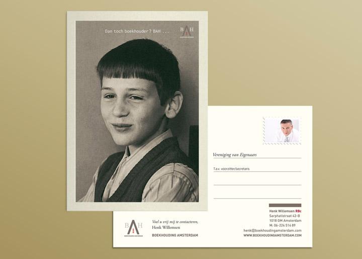 ontwerp kaart/flyer 'Boekhouding Amsterdam' - Boekhoudkantoor in Amsterdam met als specialisatie de boekhouding voor 'Vereniging van Eigenaars'