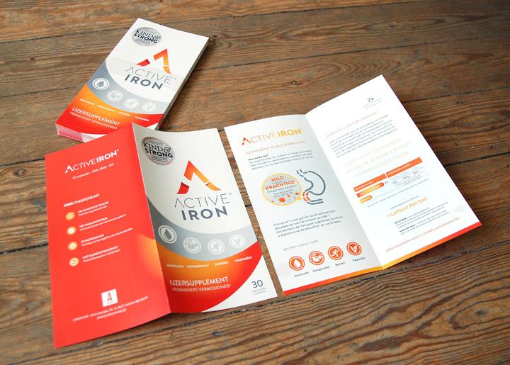 Ontwerp brochure ActiveIron van Amophar. Ijzersupplement - ijzer helpt uw energieniveau te bewaren & gaat vermoeidheid tegen.