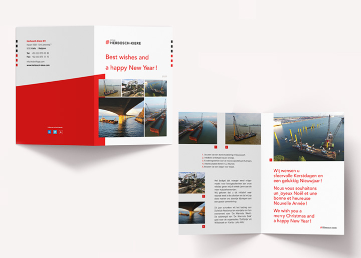 Design New-Year card 2020 for Herbosch-Kiere. 'For over a century HERBOSCH-KIERE has played a prominent role in marine, harbour, river and offshore construction projects.'