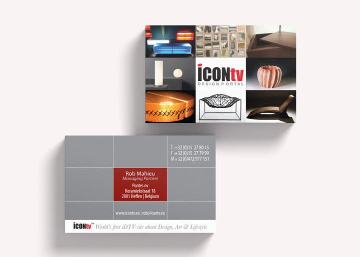 Visitekaartje en restyling look 'ICONtv' (eerste interactieve digitale design- & lifestyleportal op TV - 2010).
