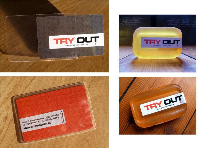 'Get out of the box and Try Out!' - ontwerp visitekaartje voor mezelf anno 2011 + zeep voor frisse nieuwe klanten ;-)