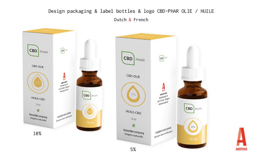 Ontwerp verpakking en etiket flesje (5% & 10%) en logo CBD-PHAR olie van Amophar.