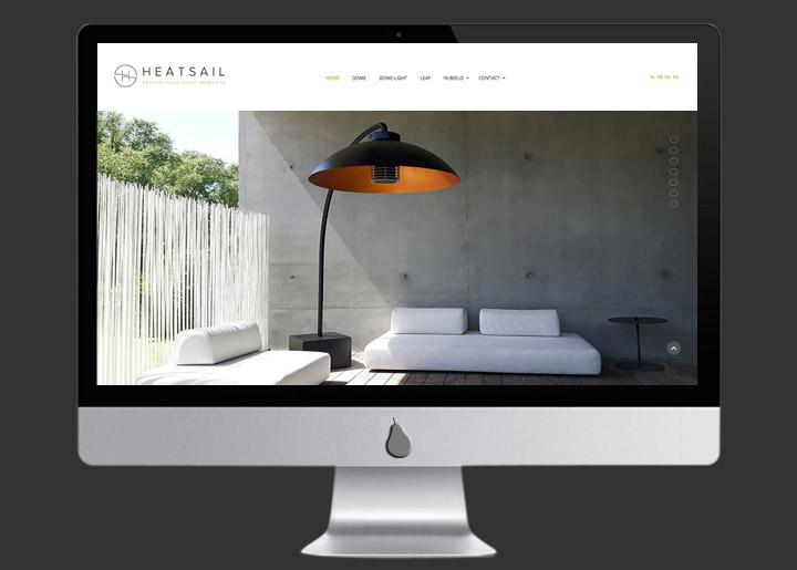 website ontwerp & ontwikkeling (Joomla CMS) voor Heatsail (fabrikant & designers van out- & indoor lampen met verwarmingselement): www.heatsail.com